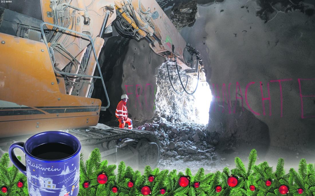 Außergewöhnliche Weihnachtsbeleuchtung.Bb Heute Advent Mit Baustelle Und Barbara